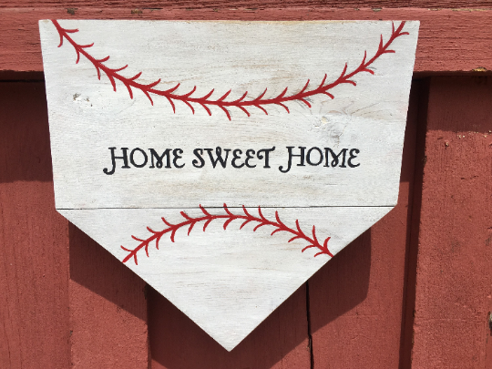 Home Sweet Home Baseball/Softball Wood Sign